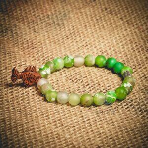 Turkish Green Agate Themed Natural Stone Wristband - Mitr