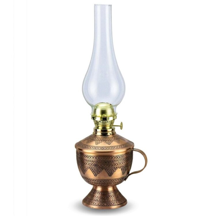 Turkish Copper Oil Lamp Handcrafted - Gamze