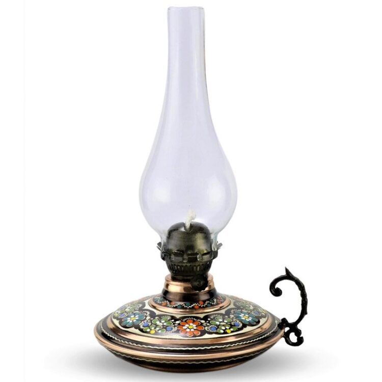 Turkish Copper Oil Lamp Handcrafted - Mahza