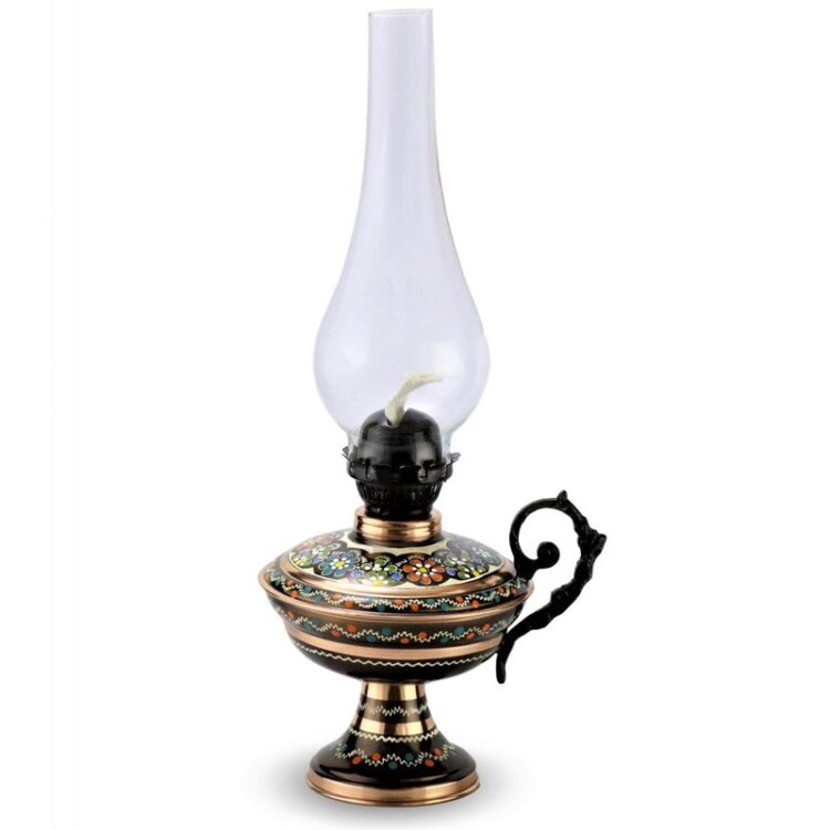 Turkish Copper Oil Lamp Handcrafted - Pinhan