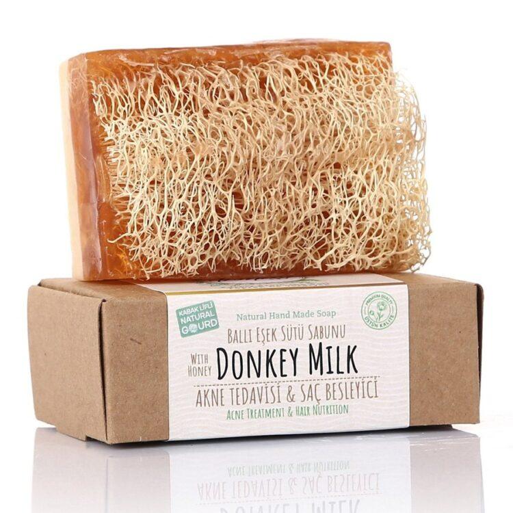 Turkish Natural Handmade Soap Honey&Donkey Milk with Organic Zucchini Fiber