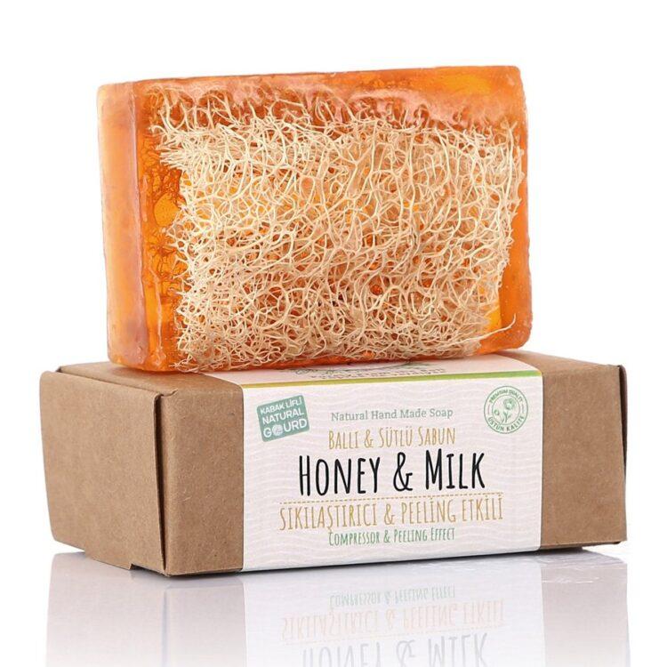 Turkish Natural Handmade Soap Honey&Milk with Organic Zucchini Fiber