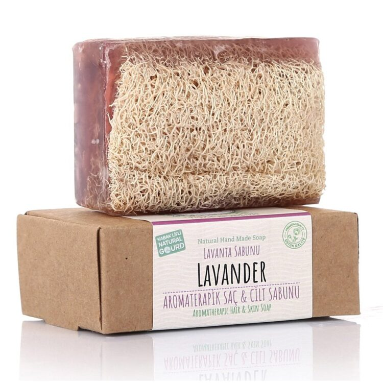 Turkish Natural Handmade Soap Lavender with Organic Zucchini Fiber