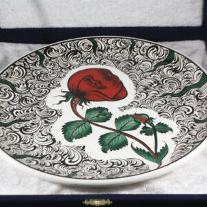 Turkish Iznik Tile Ceramic Plate Handmade - Lonely Rose