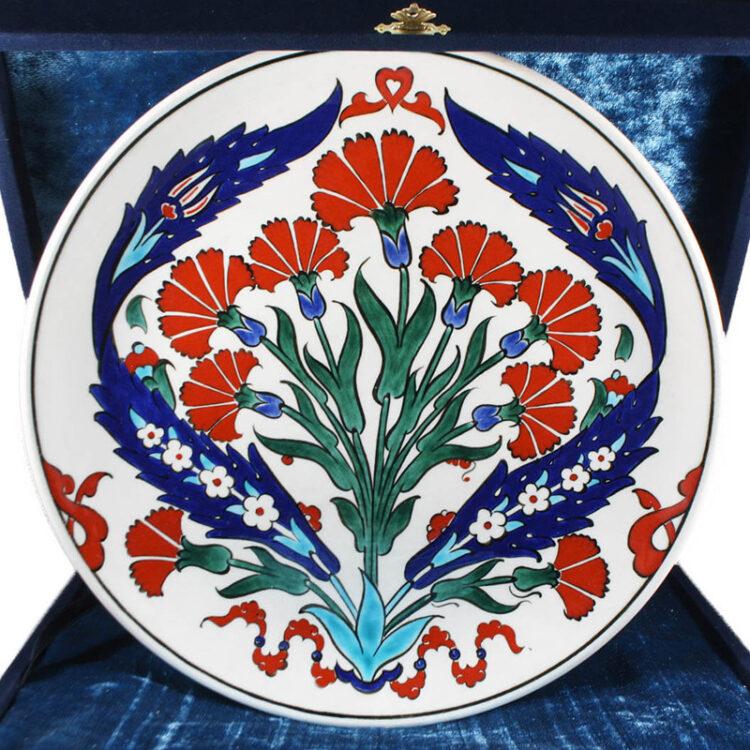 Turkish Iznik Tile Ceramic Plate Handmade - Clove