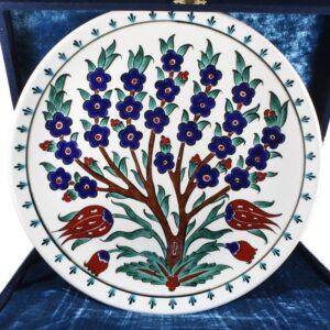 Turkish Iznik Tile Ceramic Plate Handmade - Tree & Tulip