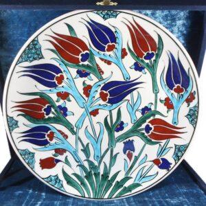 Turkish Iznik Tile Ceramic Plate Handmade - Tulip Garden