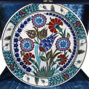 Turkish Iznik Tile Ceramic Plate Handmade - Flower Garden
