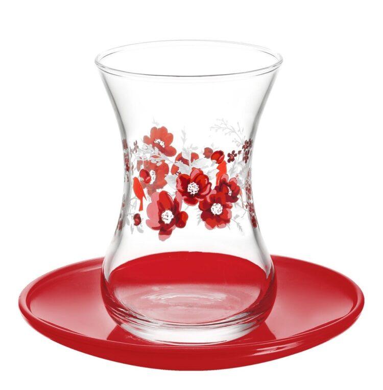 Lav Turkish Tea Glass Set-Gelincik (12pcs)