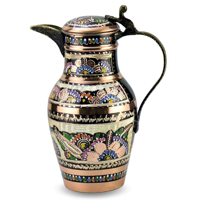 Turkish Copper Water Jug Handmade - Bird