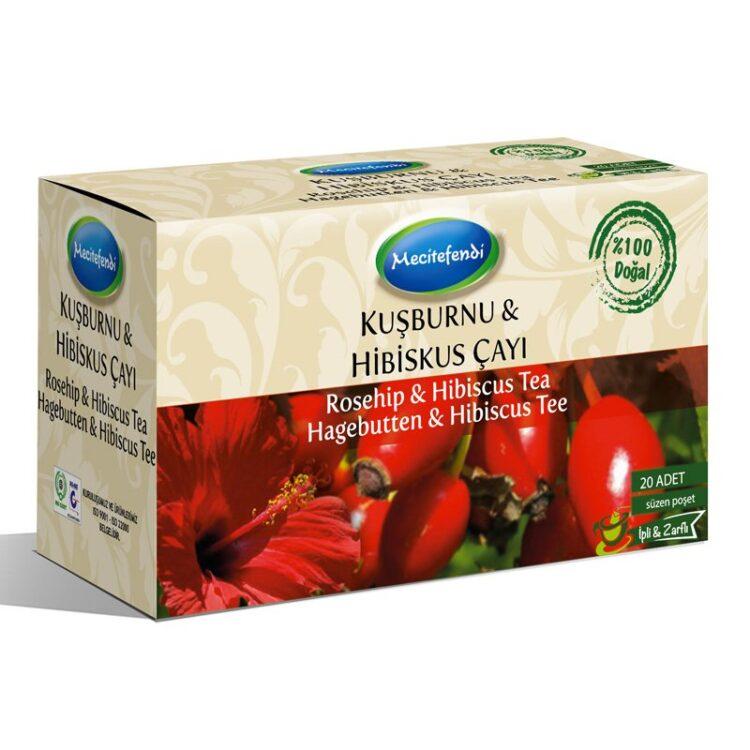 Turkish Natural Rosehip & Hibiscus Herbal Tea Bags (20 bags)
