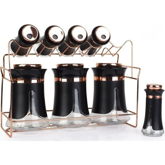 Luxury Metal Coating Glass Spice Rack Set-8pcs