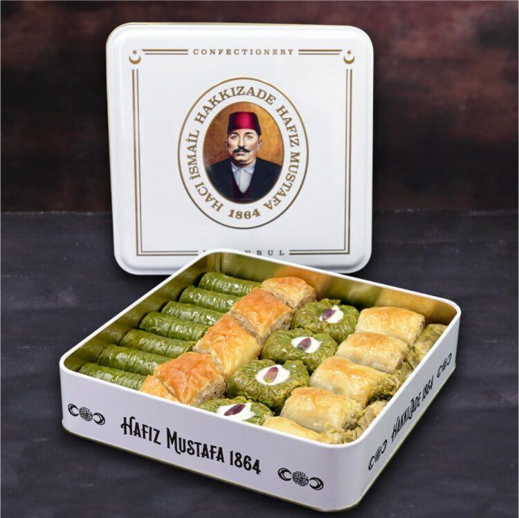 Assorted Turkish Baklava in Metal Box - Hafız Mustafa (1kg)
