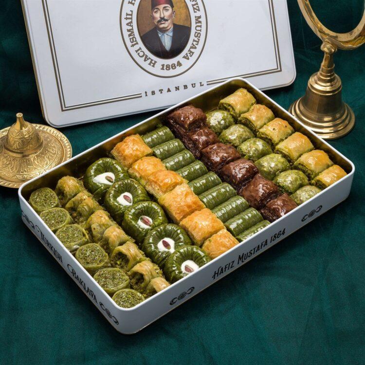 Assorted Turkish Baklava in Metal Box - Hafız Mustafa (2kg)
