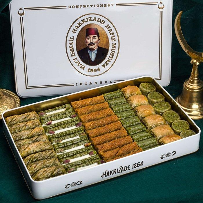 Assorted Turkish Baklava Pistachio in Metal Box - Hafız Mustafa (2kg)