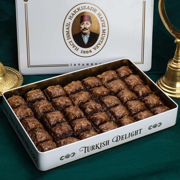 Turkish Baklava Chocolate Pistachio Metal Box - Hafız Mustafa (1.65kg)