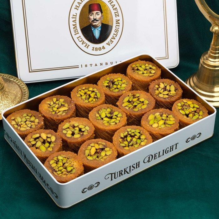 Turkish Baklava Pistachio Wrapped Halep in Metal Box - Hafız Mustafa (1.2kg)
