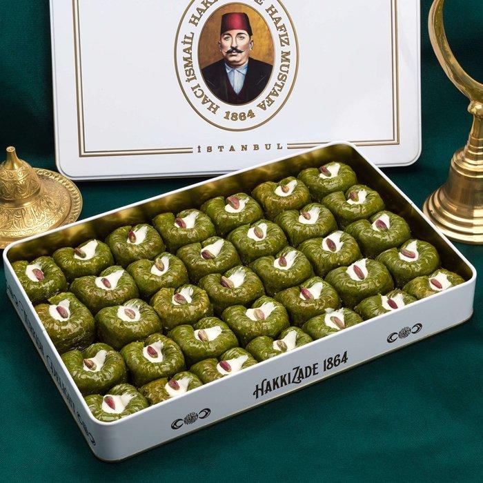 Turkish Baklava Pistachio Sultan in Metal Box - Hafız Mustafa (1.5kg)