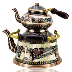 Turkish Copper Tea Pot Handcrafted - Rose Flower