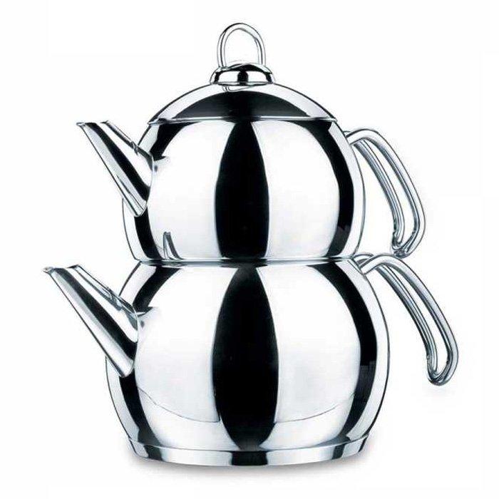 Turkish Teapot Stainless Steel Tombik - Korkmaz