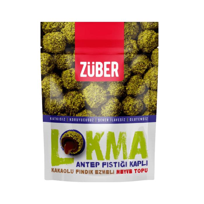 Turkish Lokma (Pistachio Covered, Cocoa, Hazelnut Paste Fruit Ball) - Zuber