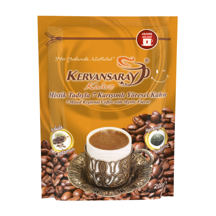 Kervansaray 7 Mixed Regional Turkish Coffee with Mystic Flavor 200g