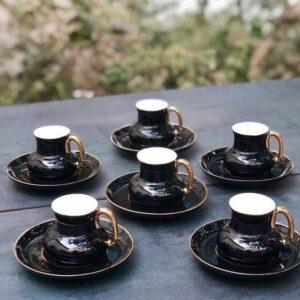 Gürallar Porcelain Blueberries Turkish Tea Set