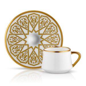 Turkish Coffee Cup Porcelain - Dervish Mystic Seljuk Gold (Set of 6)