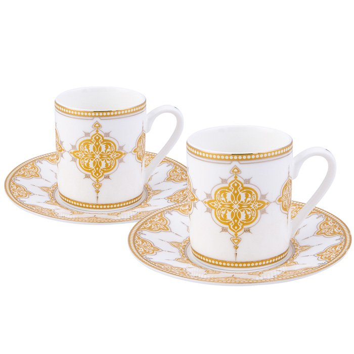 Turkish Coffee Cup Porcelain - Lydia Gold (Set of 6)