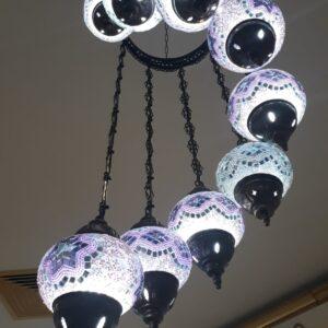 Turkish 9 Piece Mosaic Hanging Lamp - Yeni Ay