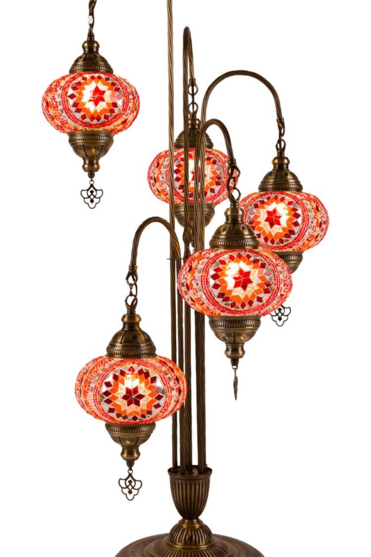 Turkish 5 Piece Mosaic Corner Lamp - Bedesten