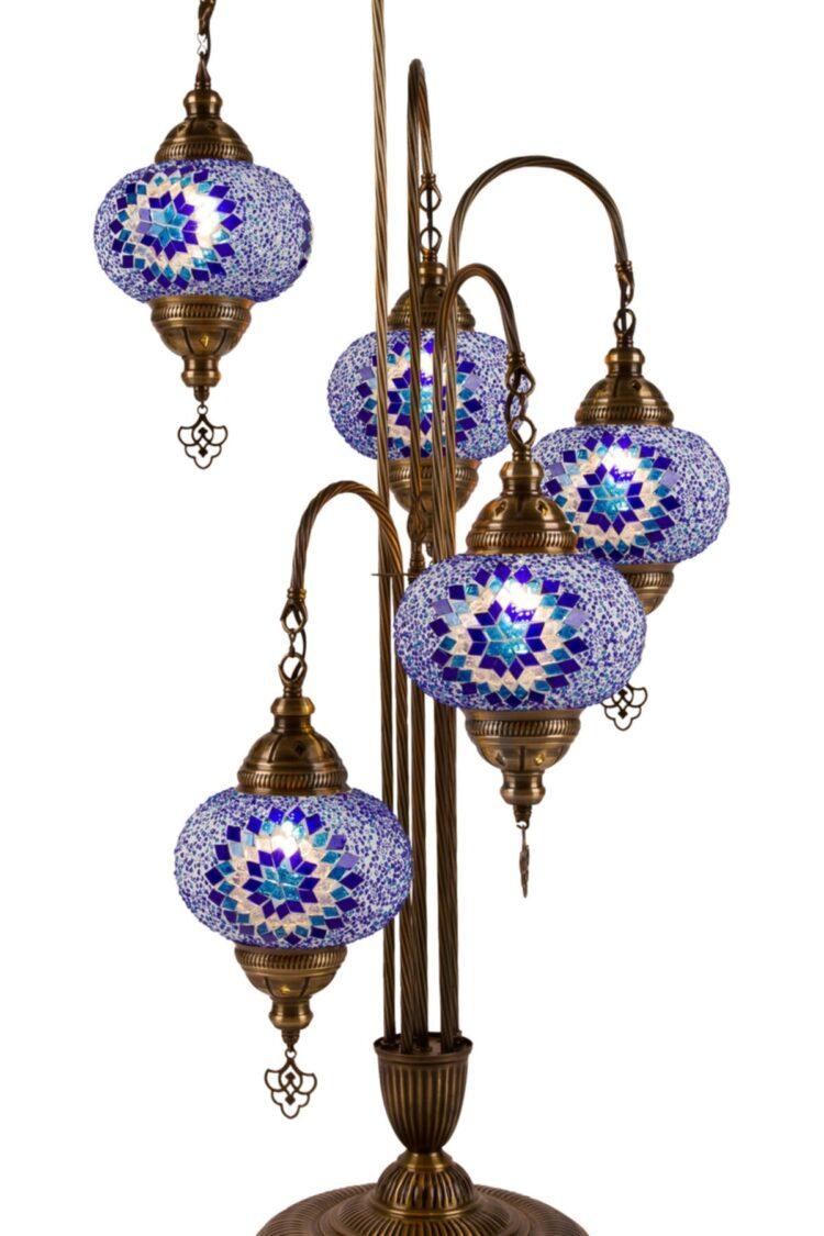 Turkish 5 Piece Mosaic Corner Lamp - Hanedan