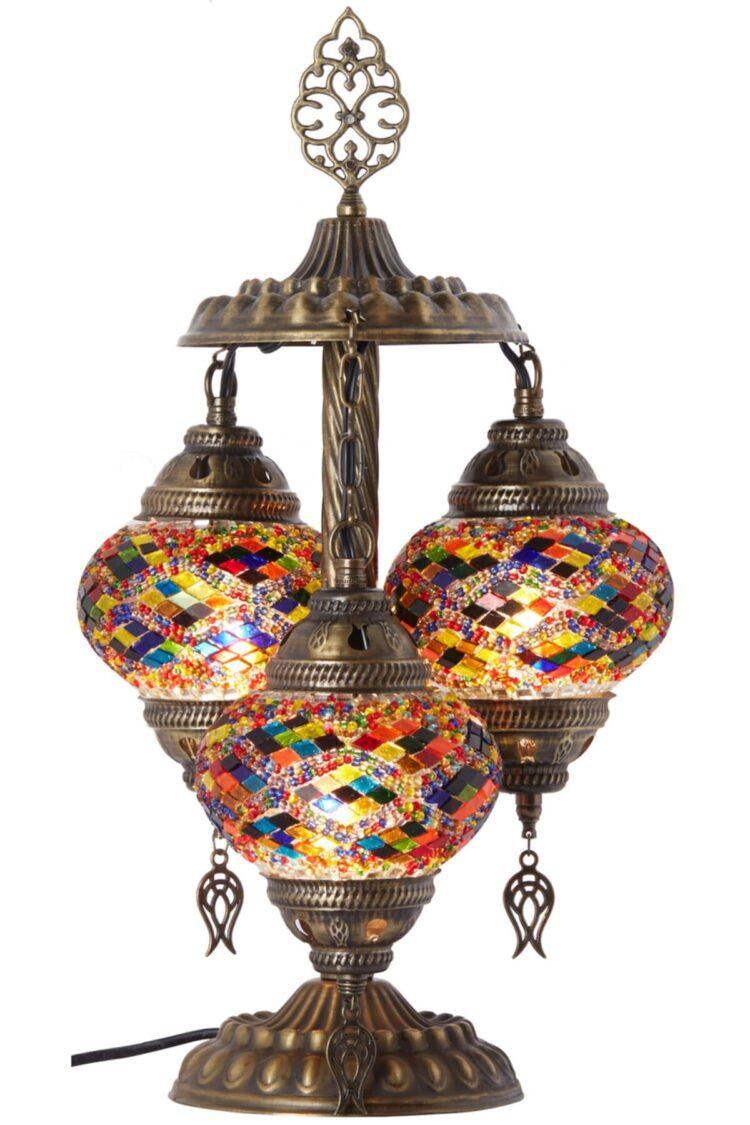 Turkish Triple Mosaic Desktop Lampshade Lamp - Ahu