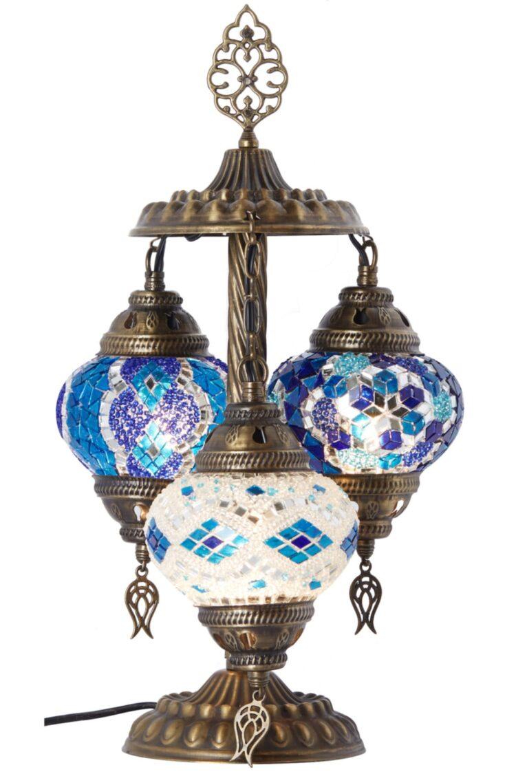 Turkish Triple Mosaic Desktop Lampshade Lamp - Mavi Beyaz