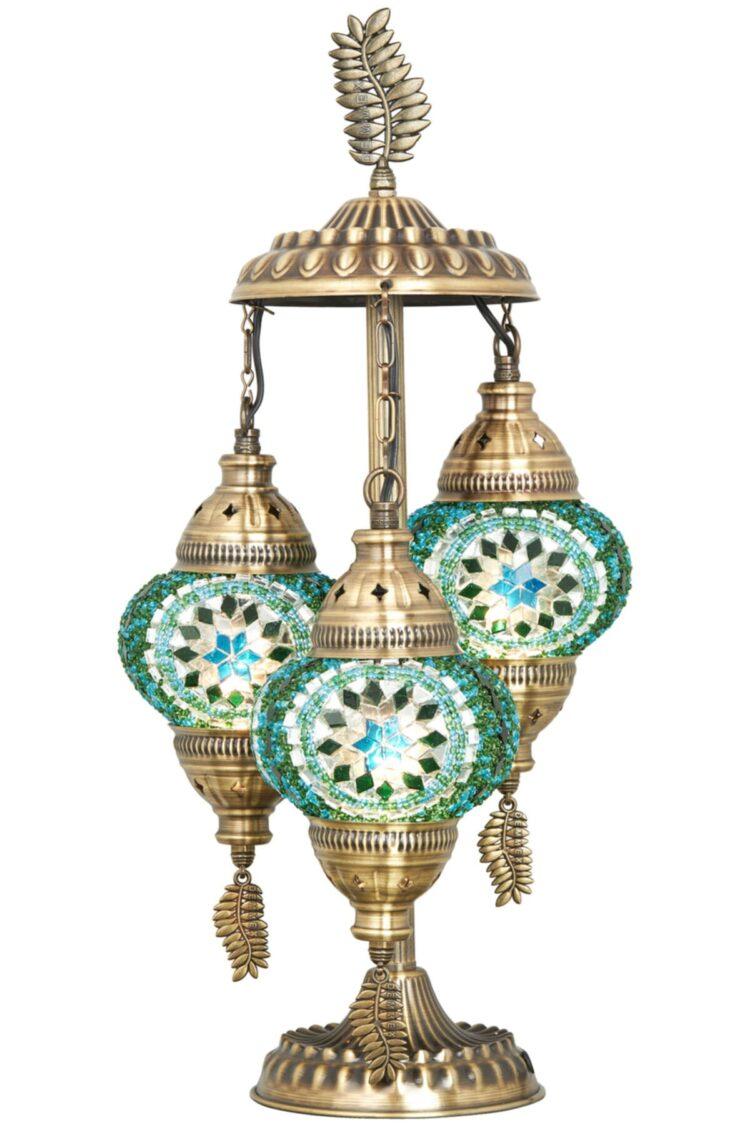 Turkish Triple Mosaic Desktop Lampshade Lamp - Turkuaz
