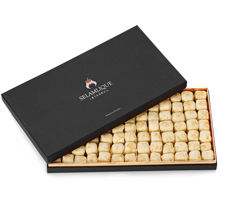 Turkish Delight with Chocolate Covered Almonds Decorated with Gold Particles / Mustic Gum - Selamlique