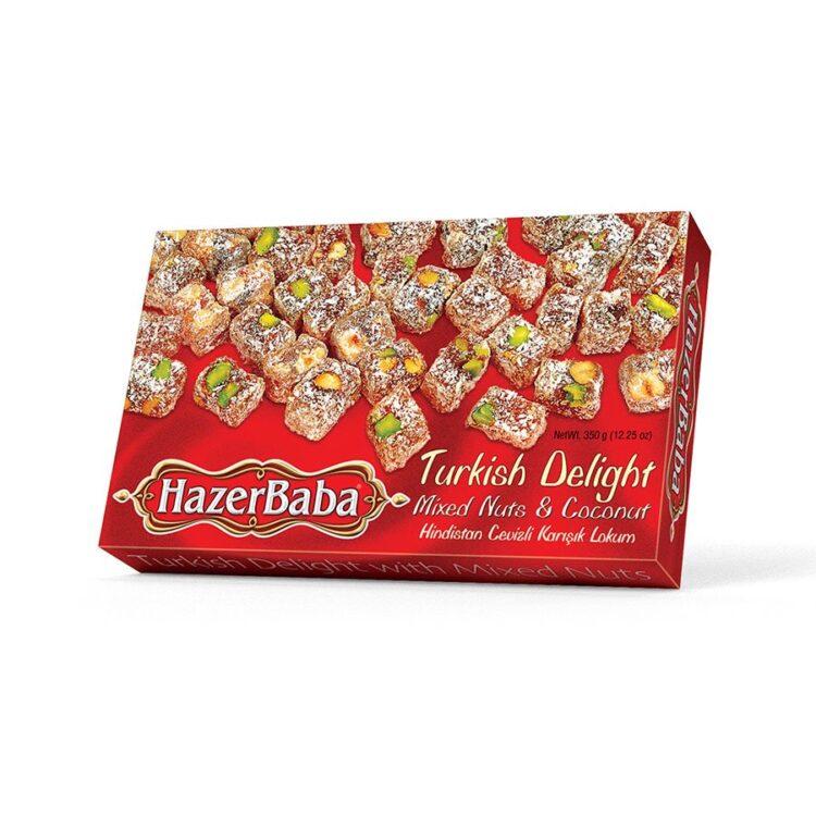 HazerBaba Turkish Delight (Lokoum) Mixed Nuts & Coconut - 350g (12.25oz)