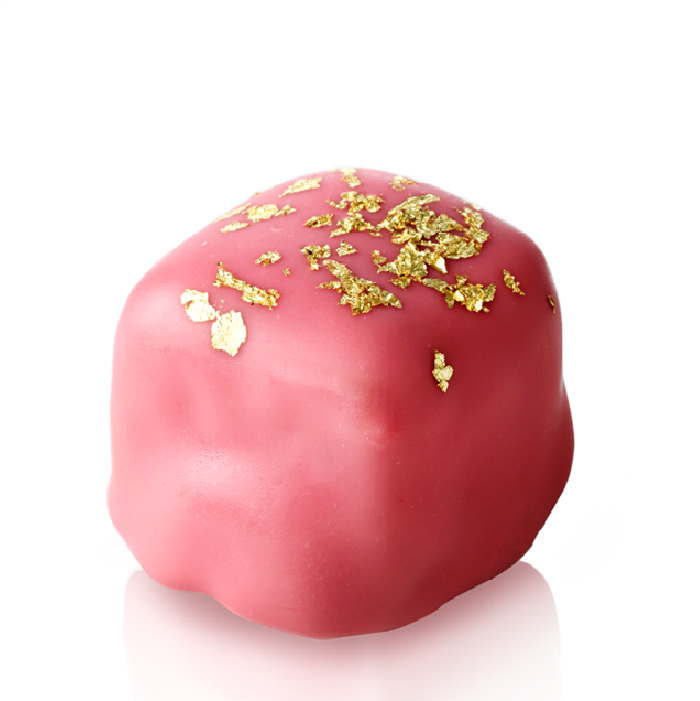 Turkish Delight with Chocolate Covered Almonds Decorated with Gold Particles / Rose - Selamlique
