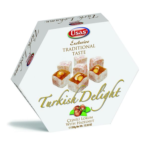 Usaş Turkish Delight Lokum Hazelnut 350g (12.33oz)