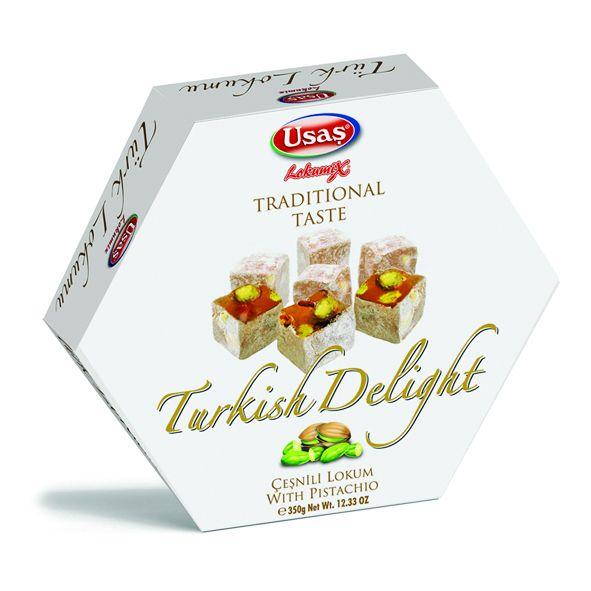 Usaş Turkish Delight Lokum Pistachio 350g (12.33oz)