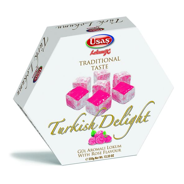 Usaş Turkish Delight Lokum Rose-Flavoured 350g (12.33oz)