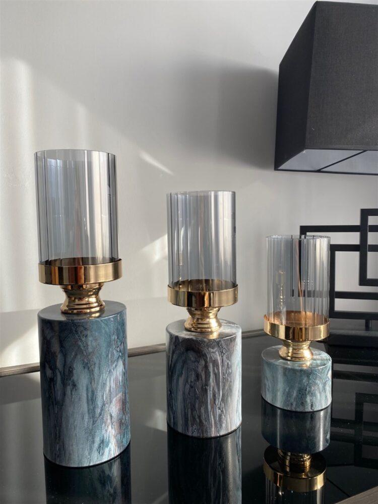 Marble Pattern Coating Candle Holder - Modapek