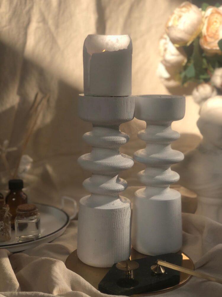 Pine White Wooden Candlestick Candle Holder - Modapek