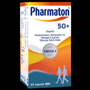 Natural Herbal Supplement - Pharmaton 50 Plus Capsules - Omega 3