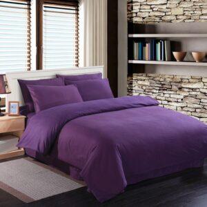 Double Duvet Cover Set -100% Cotton Ranforce Fabric/Purple