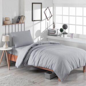 Single Duvet Cover Set -100% Cotton Ranforce Fabric/Grey