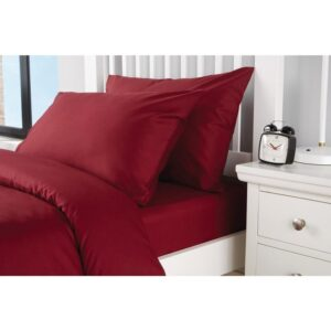 Double Duvet Cover Set -100% Cotton Ranforce Fabric/Claret Red