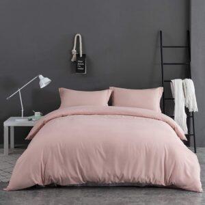 Double Duvet Cover Set -100% Cotton Ranforce Fabric/Rose Pink