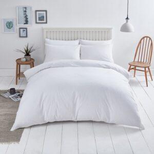 Double Duvet Cover Set -100% Cotton Ranforce Fabric/White