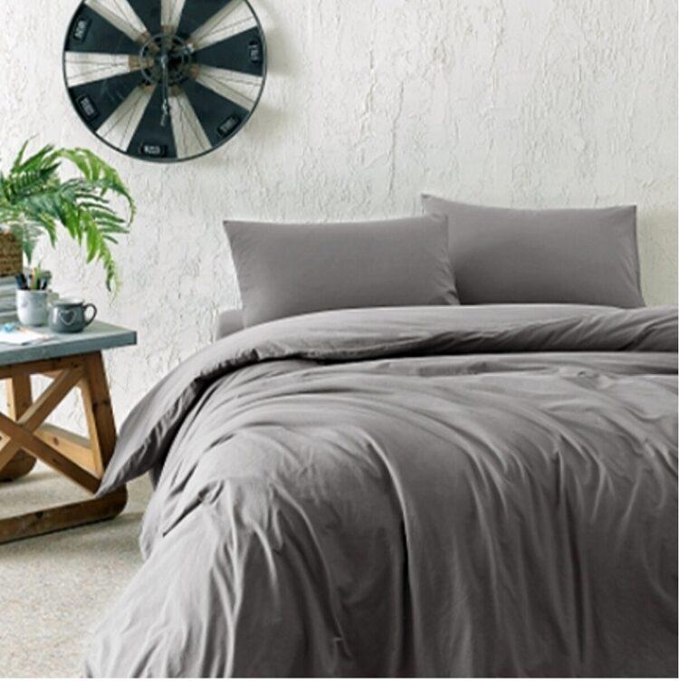 Double Duvet Cover Set -100% Cotton Ranforce Fabric/Grey